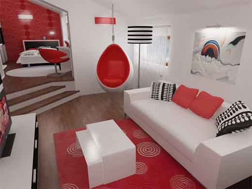 Red Living Room Interior Design Ideas 19