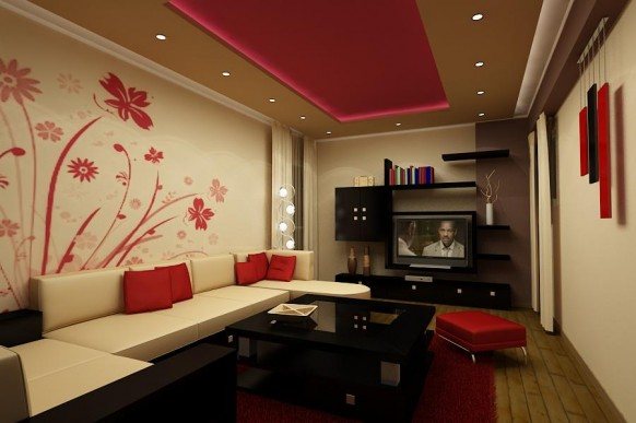 Red Living Room Interior Design Ideas 42