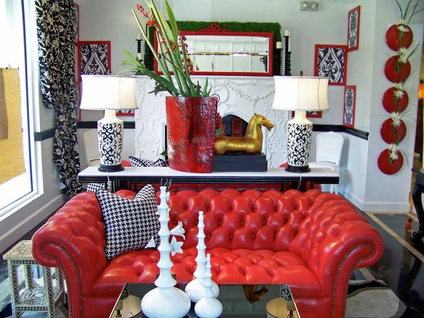 Red Living Room Interior Design Ideas 13
