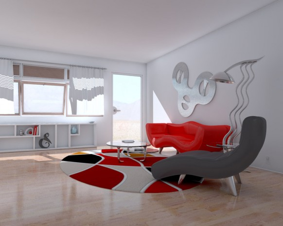Red Living Room Interior Design Ideas 41