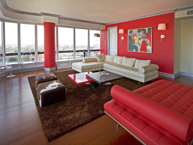 Red Living Room Interior Design Ideas 10