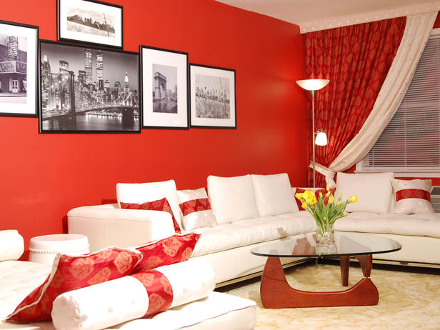 red curtains and walls