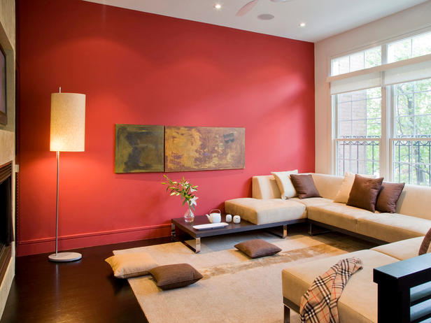 red wall with special paintings on it