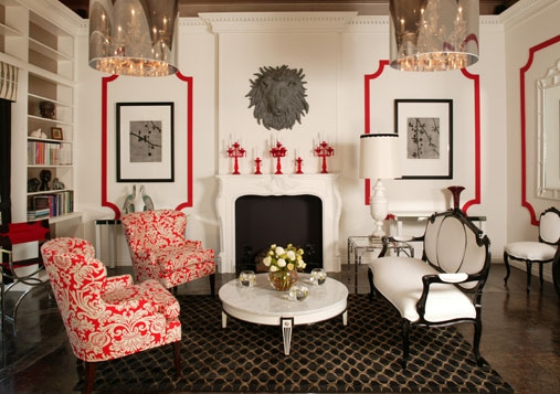 white walls with red details