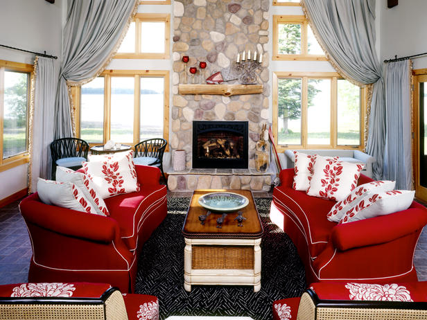 Red Living Room Interior Design Ideas 4