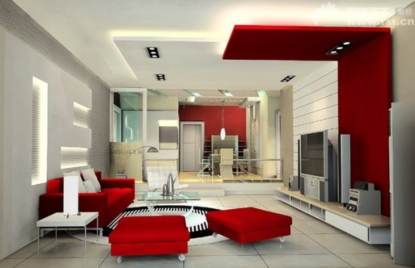 Red Living Room Interior Design Ideas 40