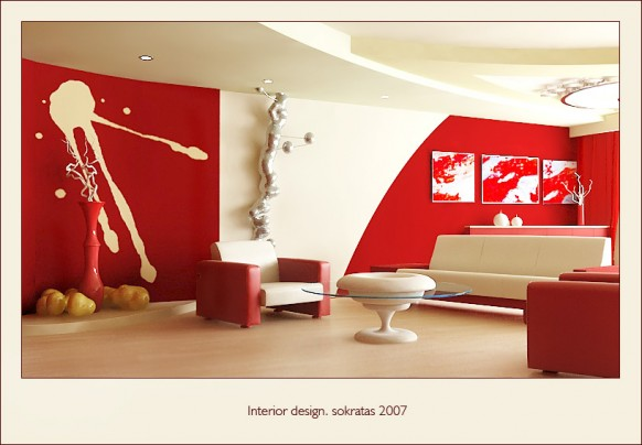 Red Living Room Interior Design Ideas 39