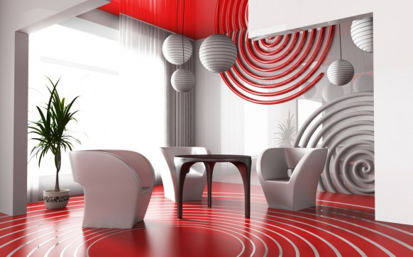 Red Living Room Interior Design Ideas 38