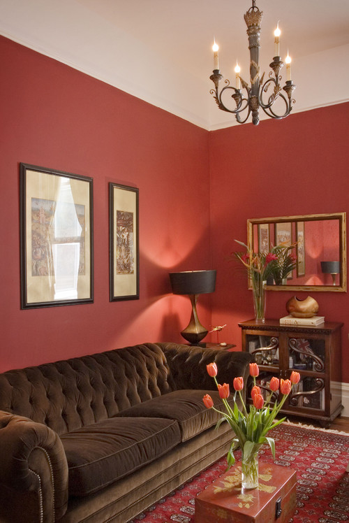 Red study traditional living room Orange and red living room design