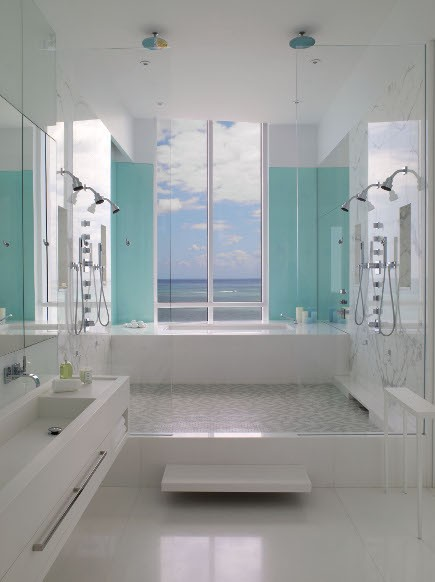 white fresh bathroom with a view