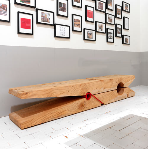 Bench Giant Clothes Pin by Baldessary e Baldessari