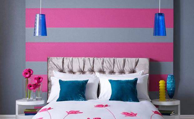 grey pink stripes bedroom with hanging lights