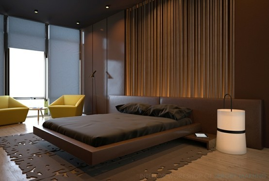 modern brown bedroom with lime