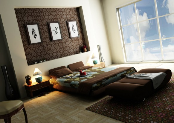 modern brown wallpaper bedroom