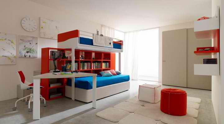 blue and red boys bedroom furniture