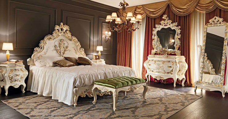 white and gold luxury bedroom venezia furniture