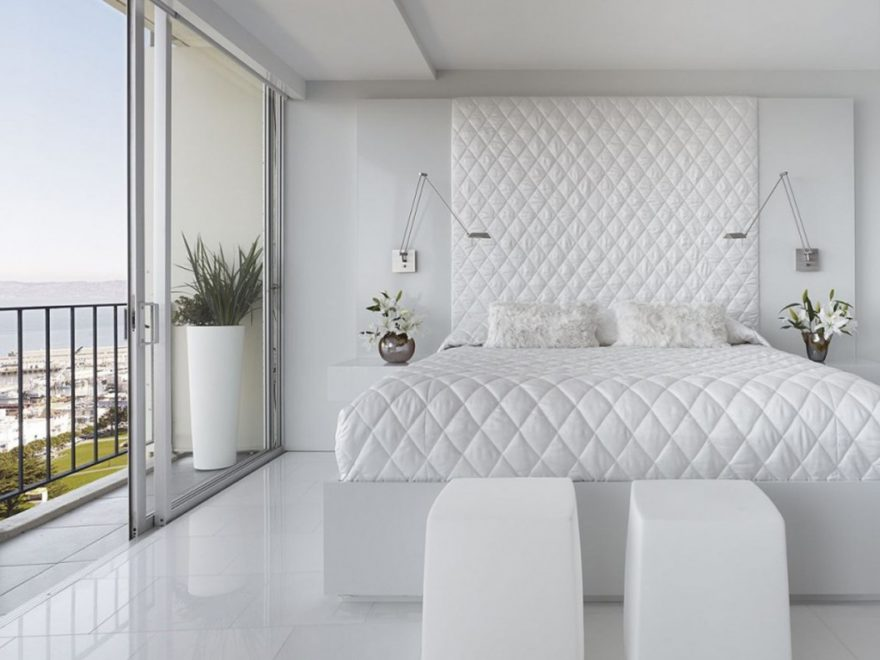 white bedroom by Mark English Architects
