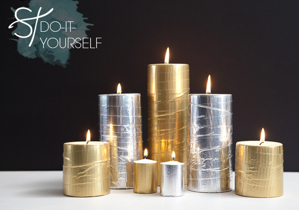 DIY Glam Metallic Candles