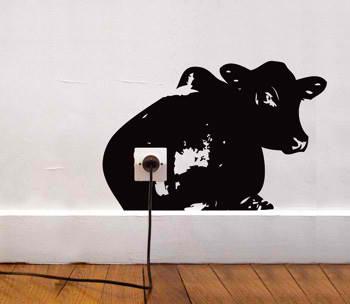 funny wall socket sticker cow