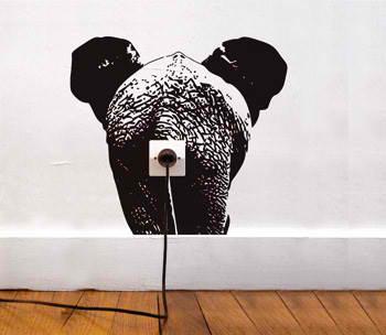 funny wall socket sticker elephant