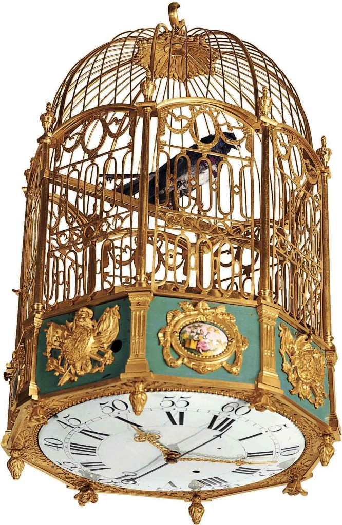 antique singing birdcage clock