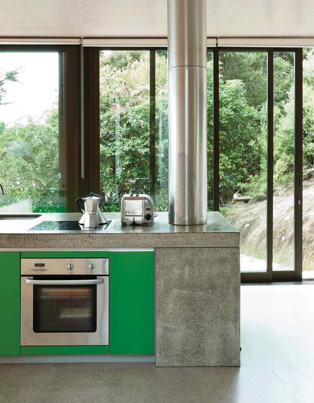 concrete green kitchen