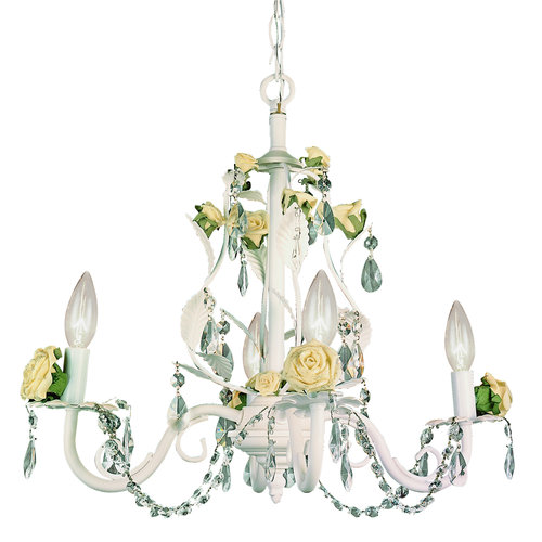 badget crystal chandelier with porcelaine roses