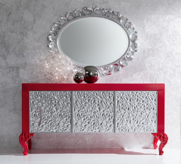 luxury silver and red sideboard for living room