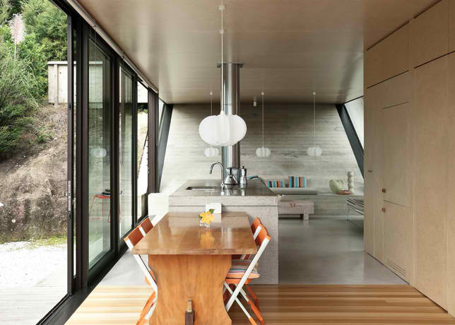 concrete kitchen in seaside New Zealand house