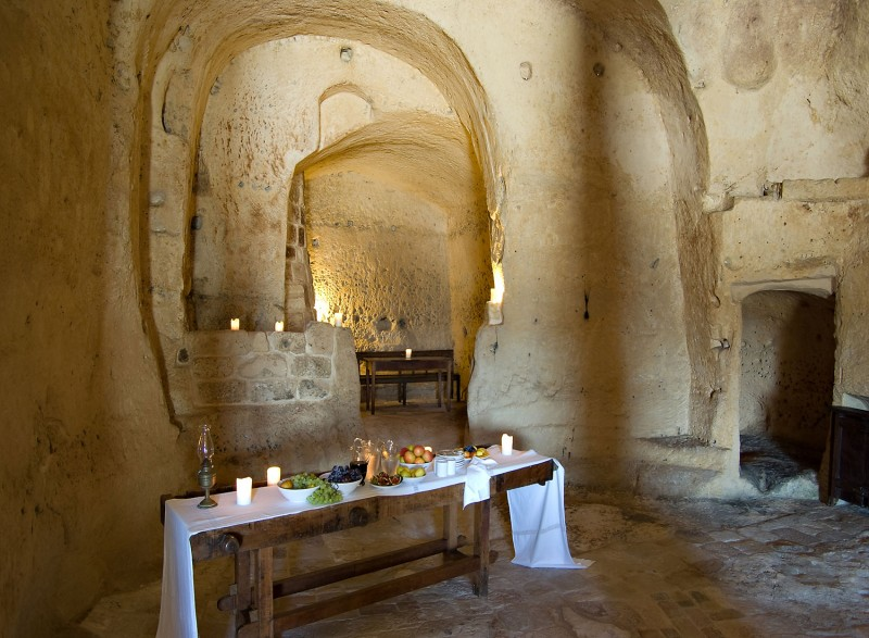 hotel into limestone caves in italy 2
