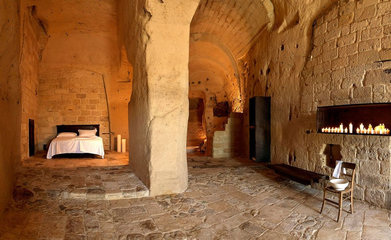 hotel into limestone caves in italy 3