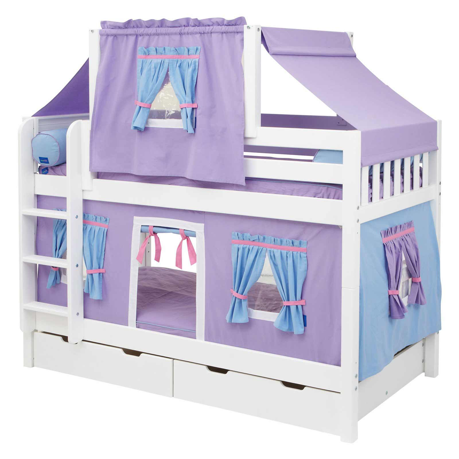 Purple Bunk Bed With Twin Deluxe Tent