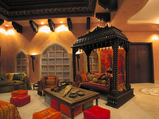 asian living room with orange shades