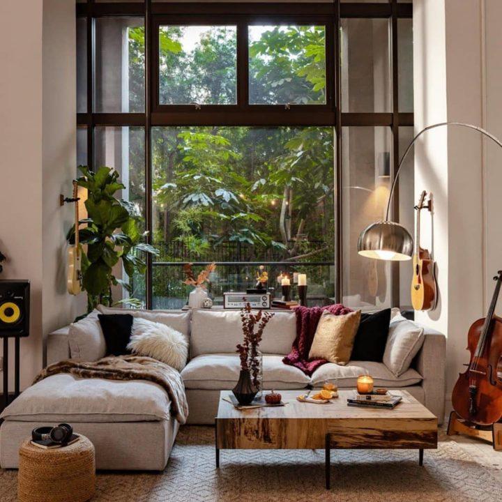 Scandinavian-inspired design handcrafted sectional sofa
