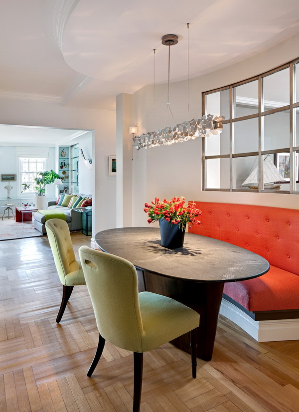 coral and chartrause dining room