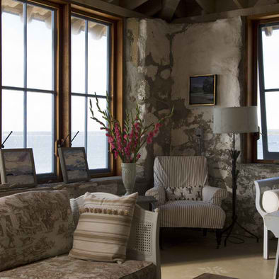 cottage chic stone living room