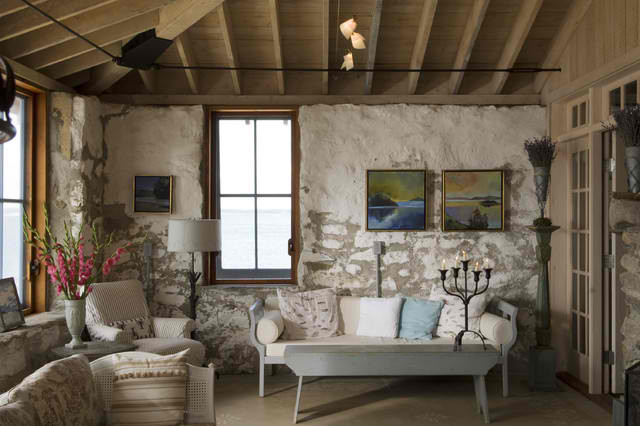 cottage chic stone living room 3 ideas
