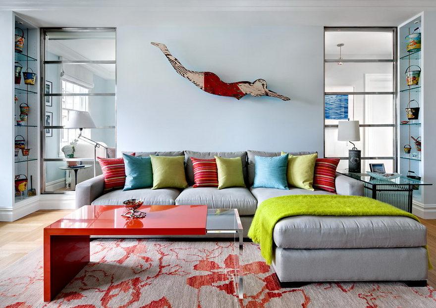 living room with nauticaly folk art