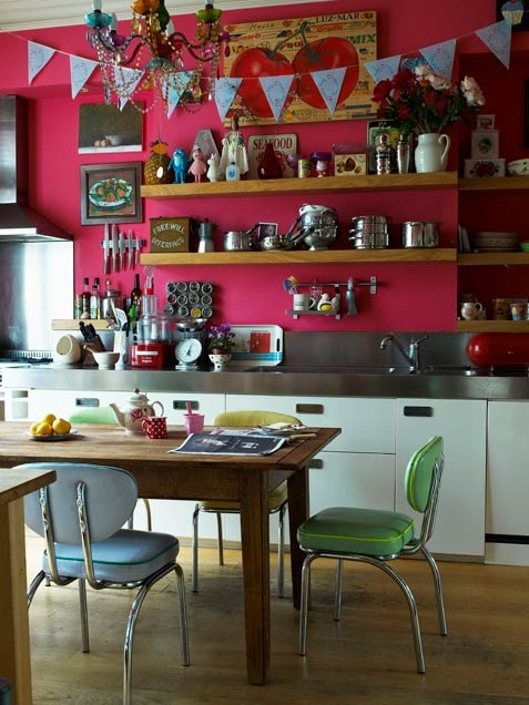 fuchsia wall in colorful kitchen
