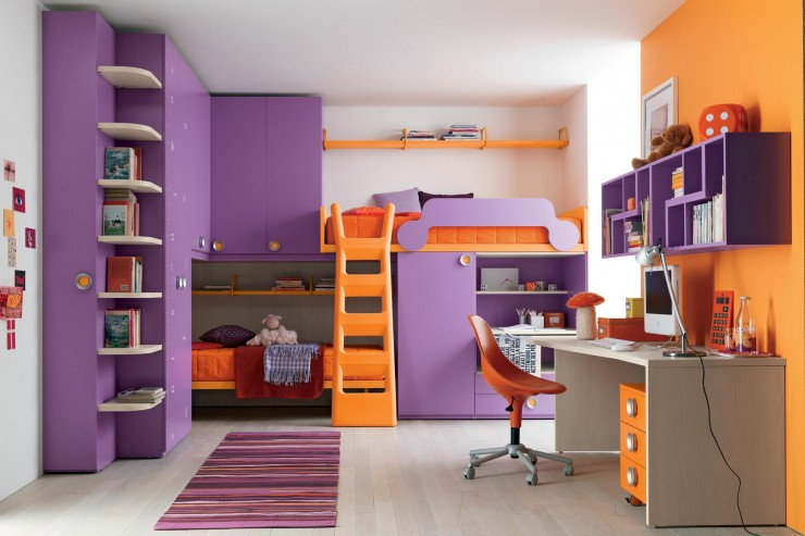 girls purple bunk beds