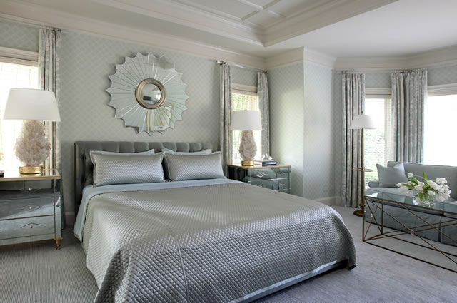 Master bedroom in Dove grey and silver palette Tobi Fairley Interior ...