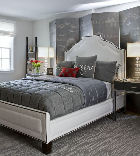 modern cozy grey bedroom