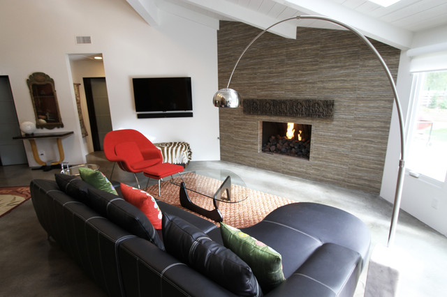 modern fireplace with art piece wall decor from india