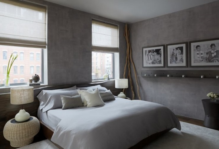 modern grey bedroom by purvipadia