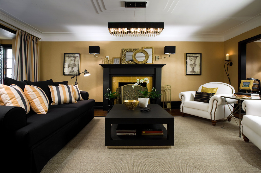 Great small living room designs by colin justin decoholic for Gold and black living room ideas