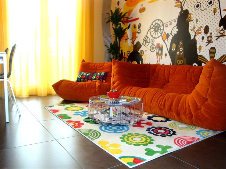 orange small living room design