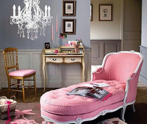 romantic pink french living room