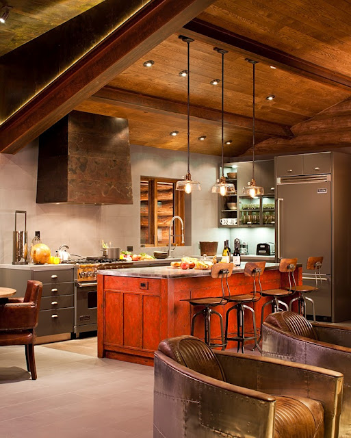 Rustic and contemporary interior design by trulinea Cabin kitchen decor