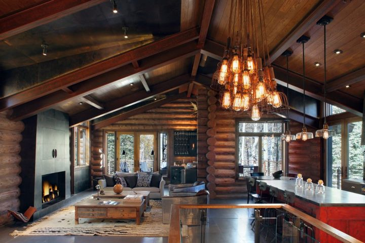 Rustic and contemporary interior design by trulinea for Modern log home interiors