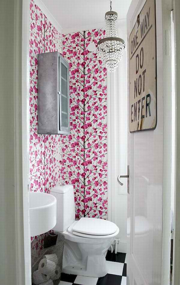 1940's bathroom with floral wallpaper